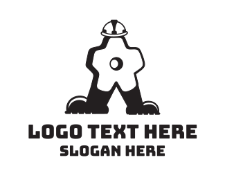 Motorcycle - Gear Man Cartoon logo design