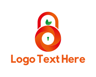 Keyhole - Orange Padlock logo design
