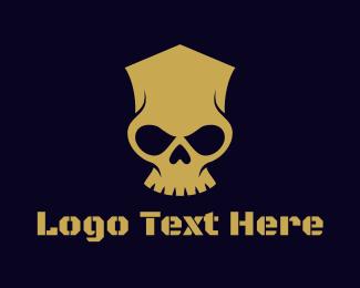 Crypt - Geometric Skull Head logo design