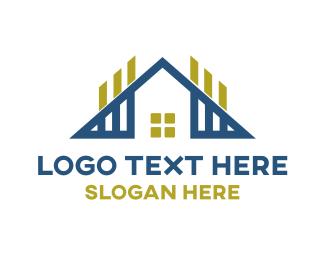 Land Developer - Triangle House Outline logo design