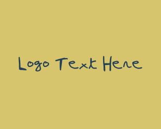 Hand-drawn -  Blue Pen Handwritten Font logo design