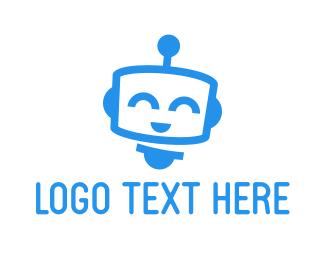Chatbot - Cute Blue Robot logo design
