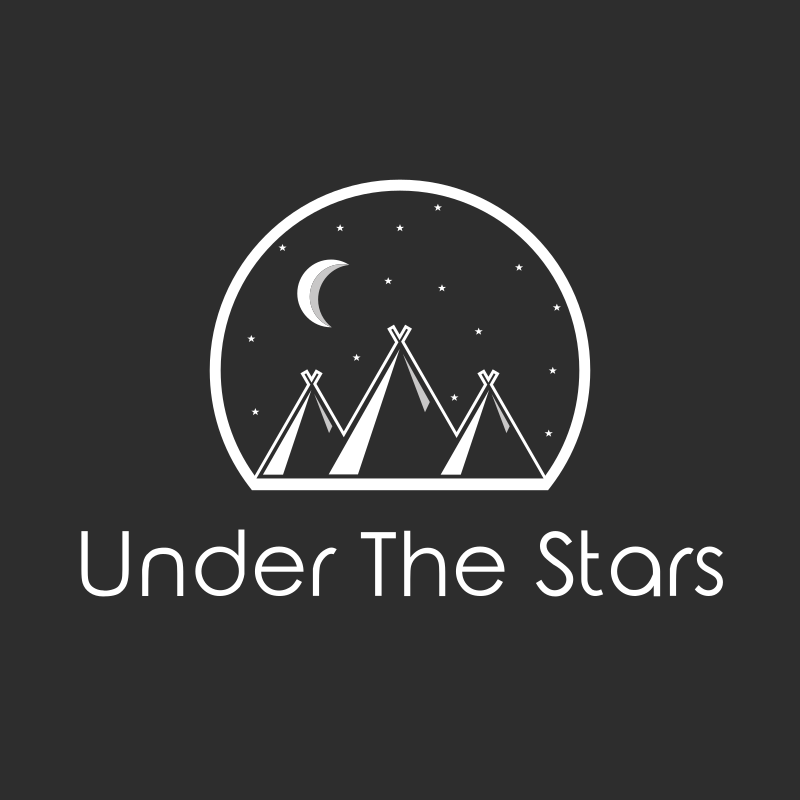 Tents, stars and moon logo