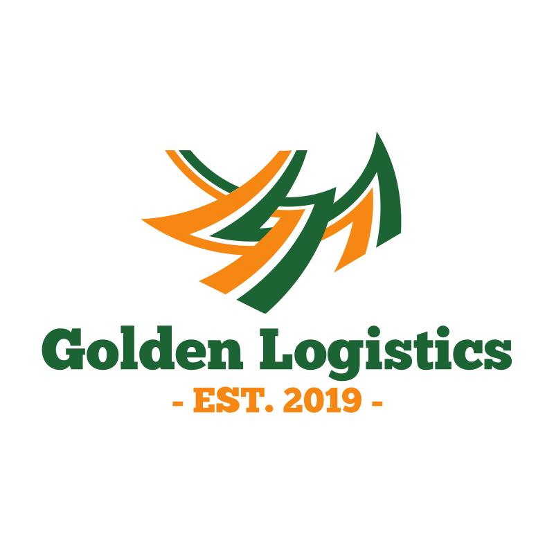 Gold and Green Lines Logistics Logo Design