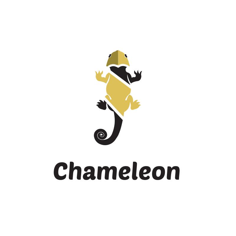 Black and Gold chameleon logo design