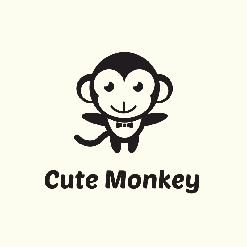 Cute Monkey Logo Design