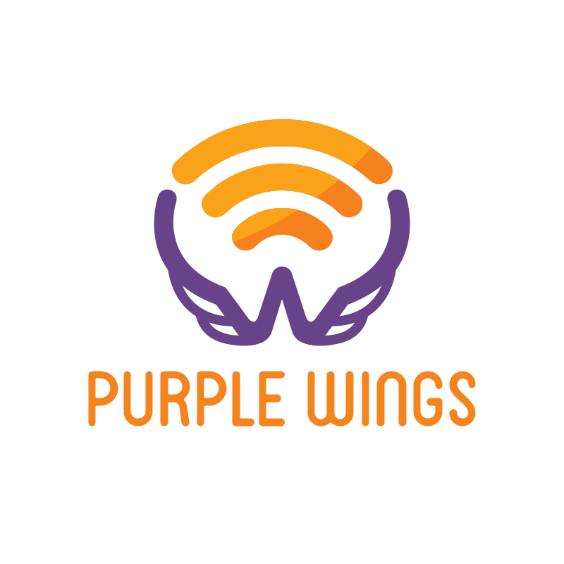 Purple Wings logo Design
