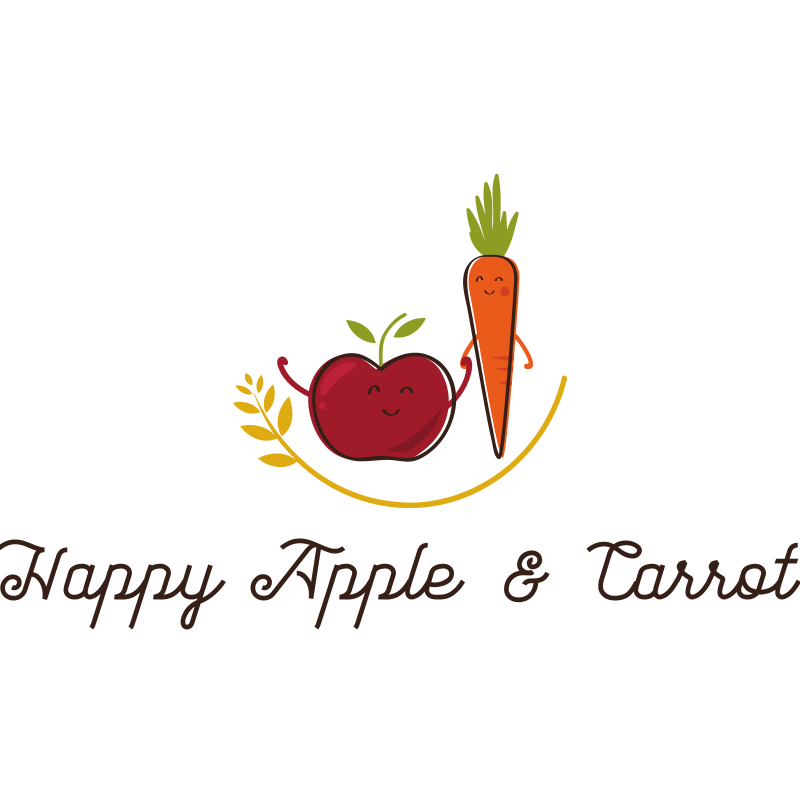 Happy Apple and Carrot Logo