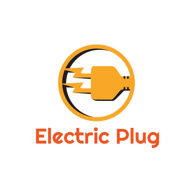 Orange Electric Plug Logo Design
