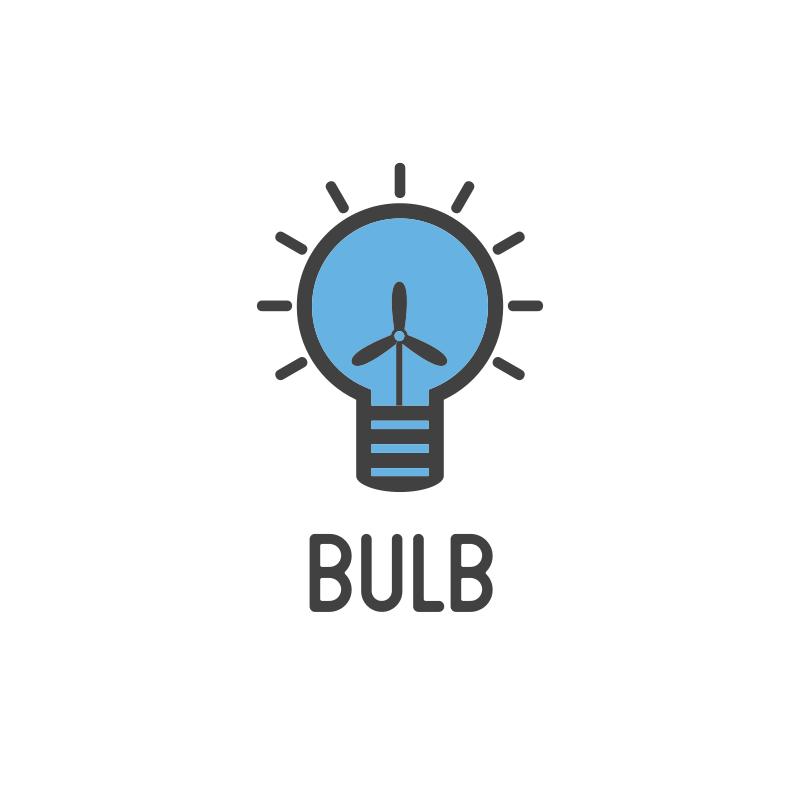 Blue Windmill Bulb Logo Design