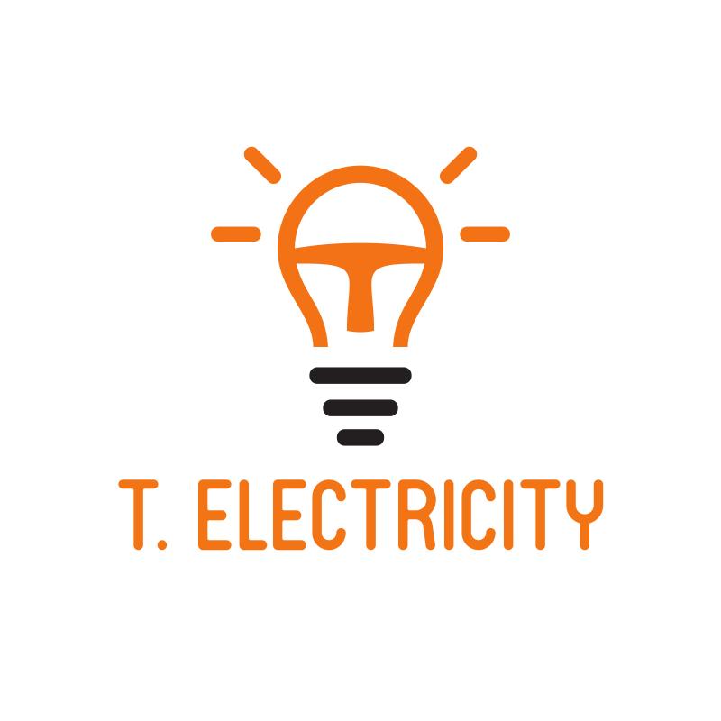 T. Electricity Bulb Logo Design