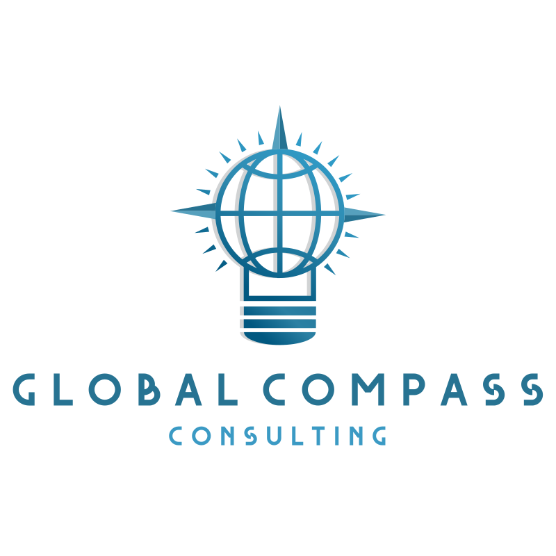 Global Compass Light Bulb Consulting Logo Design