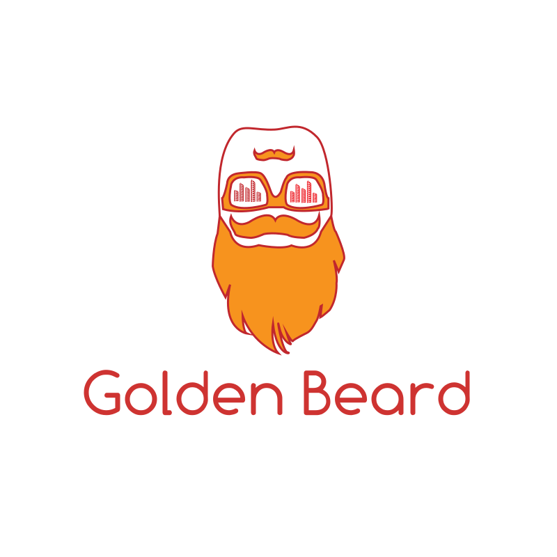 Golden Beard Soundwaves DJ Logo Design