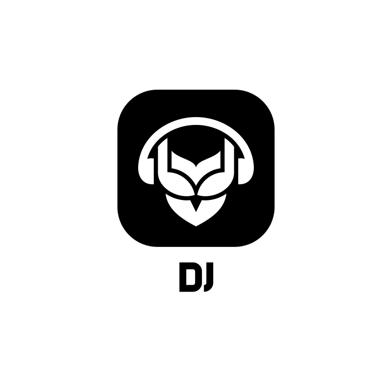 Black and White DJ Logo Design