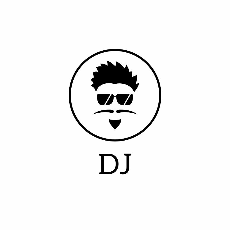 Black and White Glasses DJ Logo Design