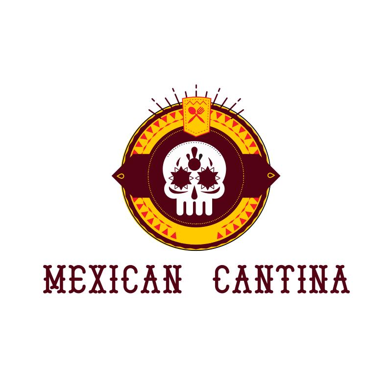 Mexican Skull Cantina Logo Design