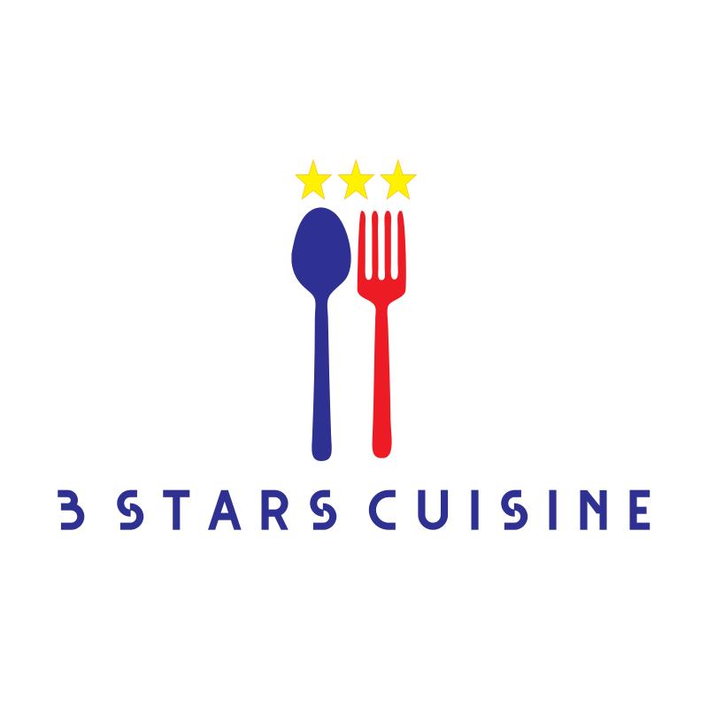3 Stars Cuisine Logo Design