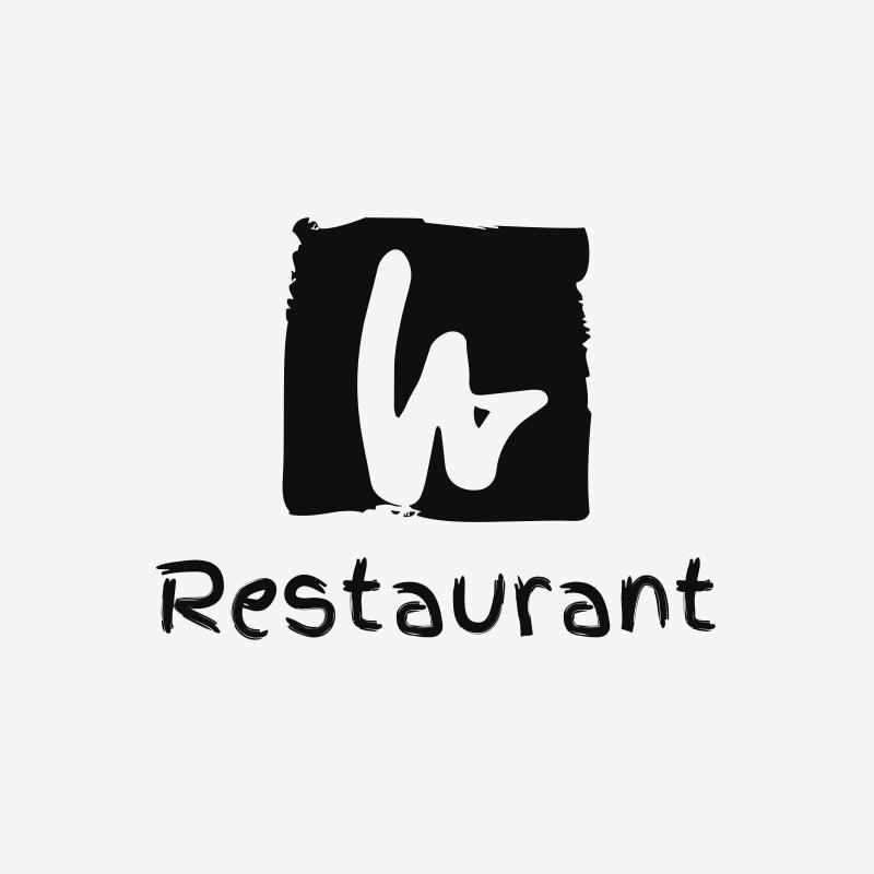 W Letter Restaurant Logo Design