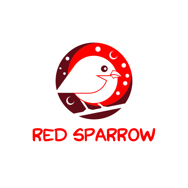 Cute White and Red Sparrow Logo Design