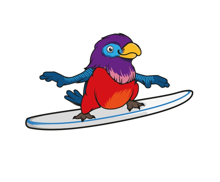 Surfing Parrot Logo Design by benito