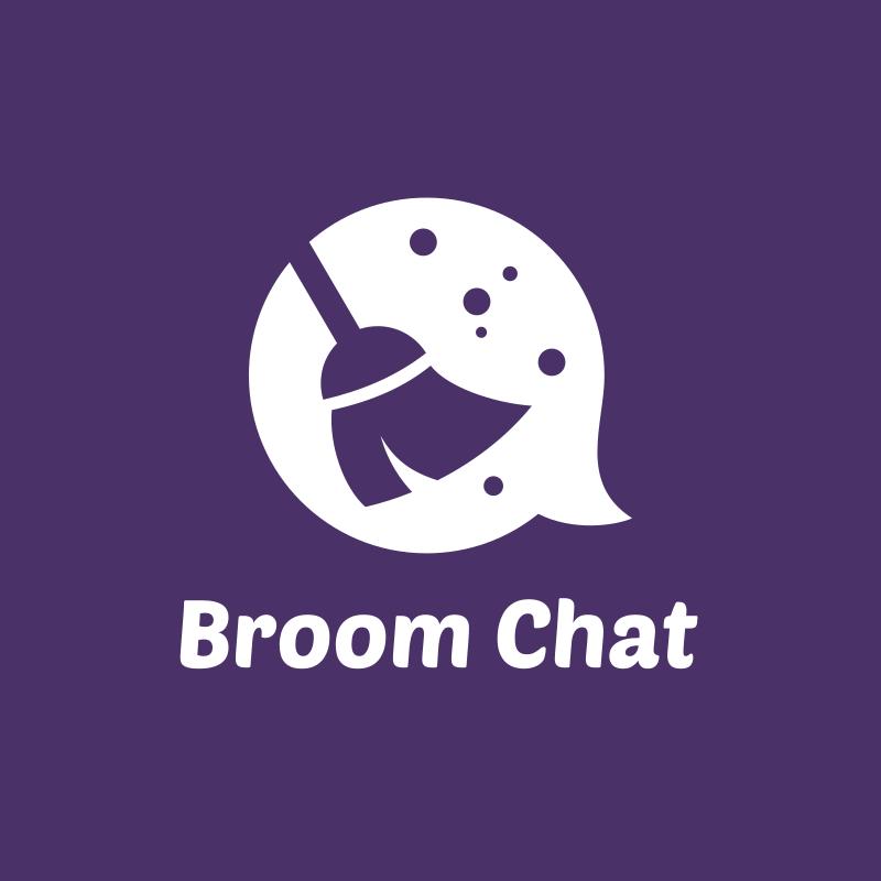 Purple Broom Chat Logo Design