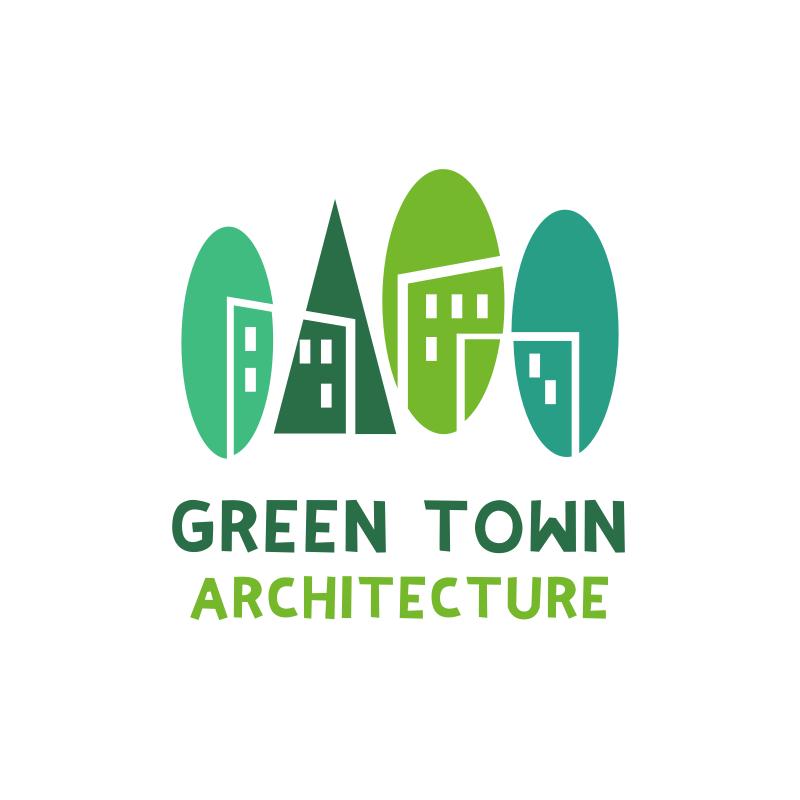 Green Town Architecture Logo Design