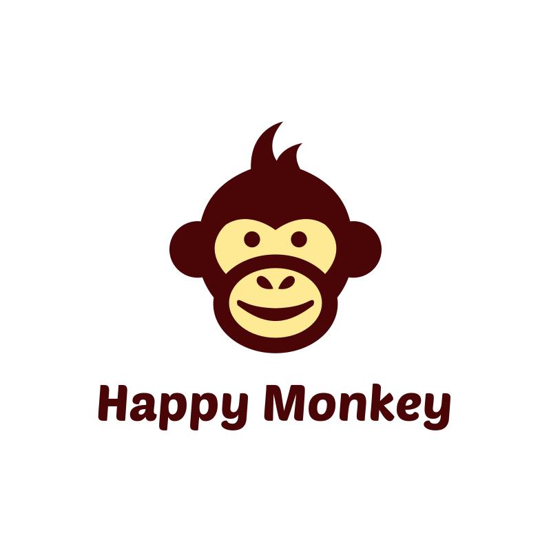 Happy Cartoon Monkey Logo Design