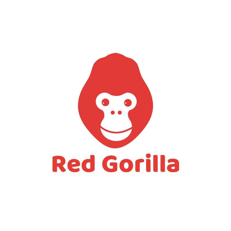 Happy Red Gorilla Logo Design