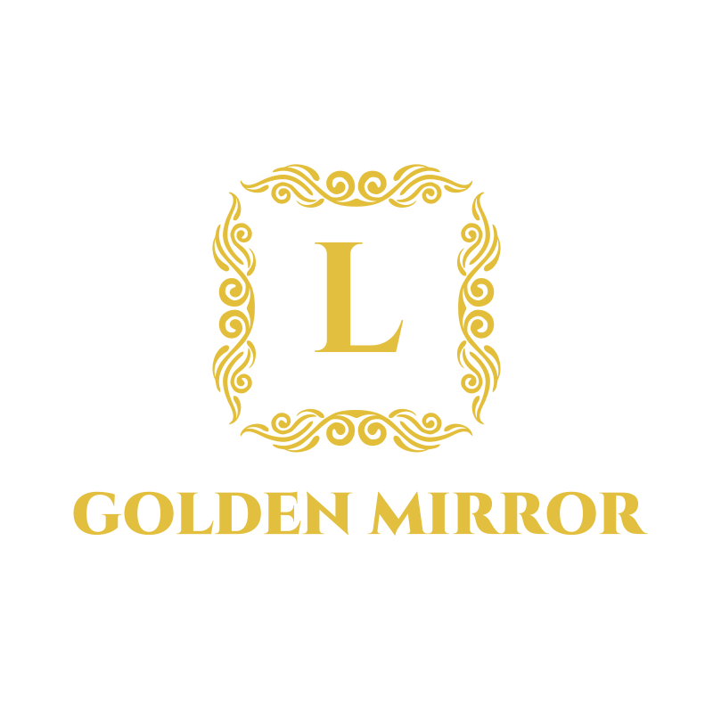 Letter and Ornament Golden Mirror Logo Design