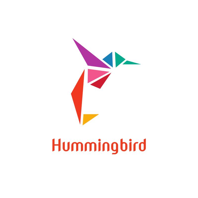 Colorful Hummingbird Triangle Logo Design