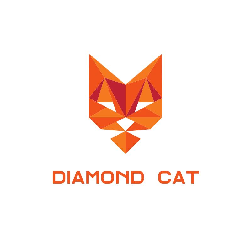 Triangle Diamond Cat Logo Design