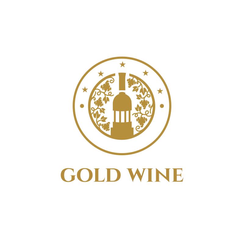 Gold Wine Logo Design
