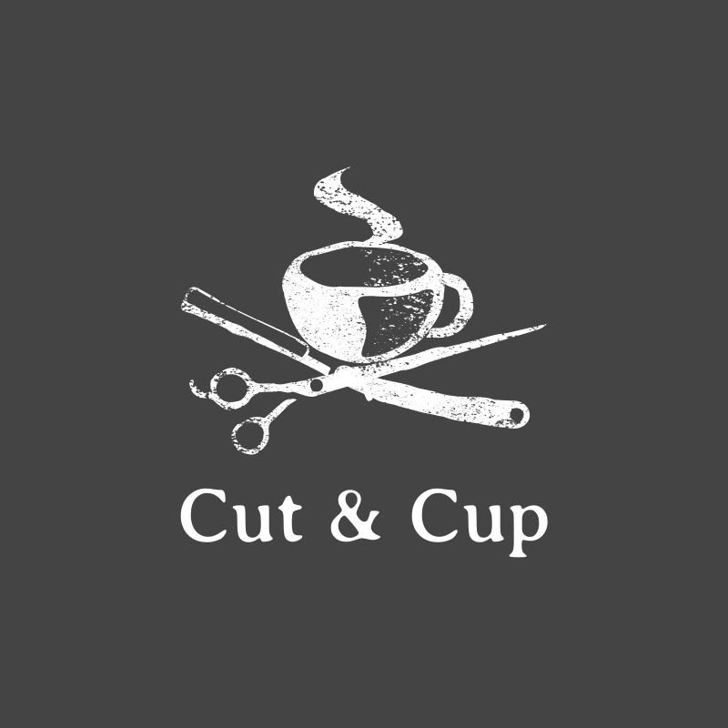 Vintage Cut & Cup Barber Logo Design