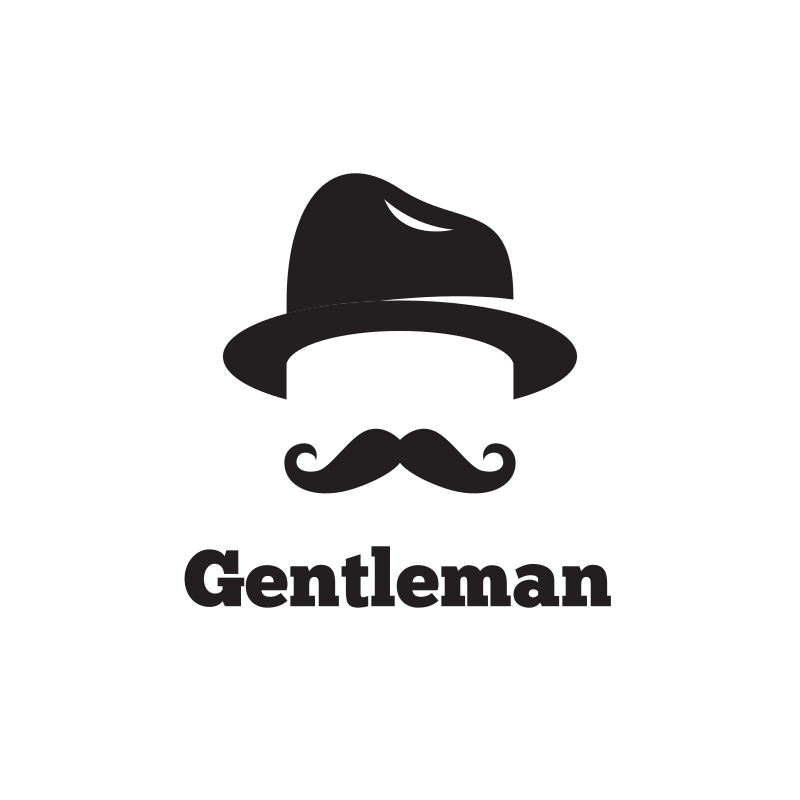 Gentleman Hat & Mustache Barber Logo Design