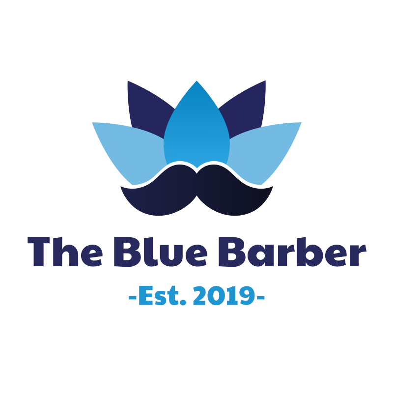 The Blue Barber Mustache Logo Design