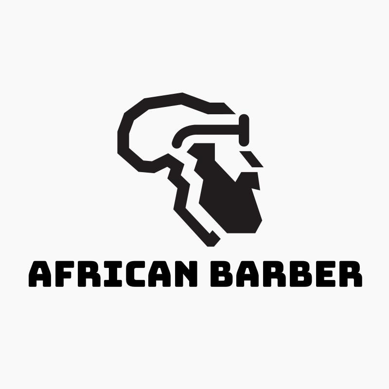 African Hipster Barber Logo Design