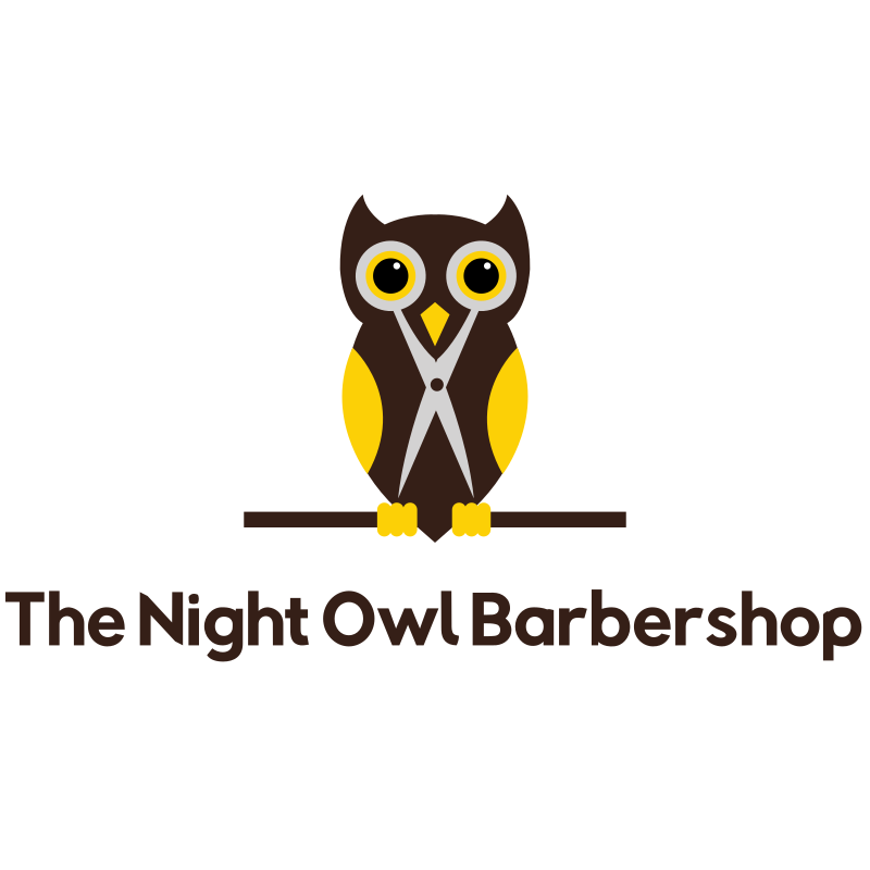 The Night Owl Cisors Barbershop Logo Design