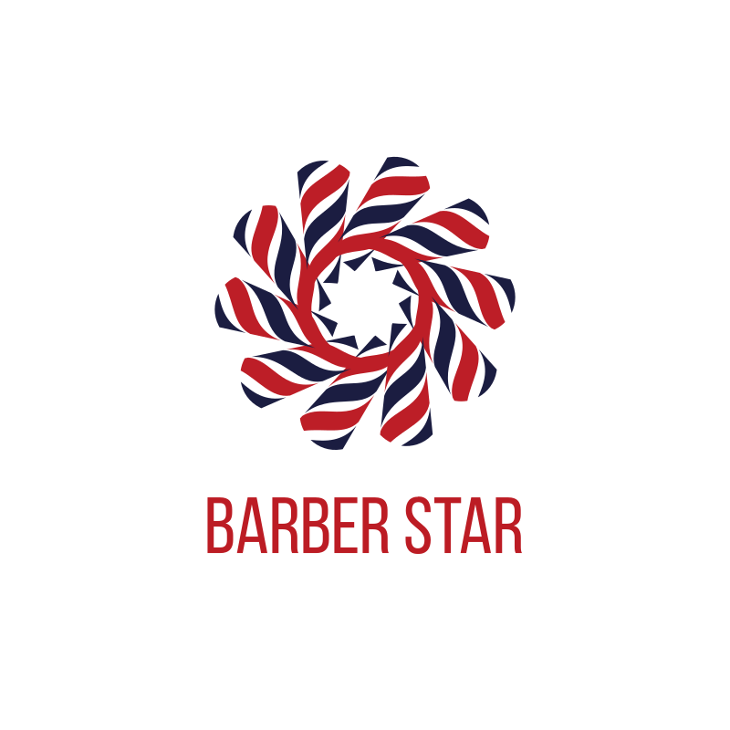 Barber Circle Star Logo Design