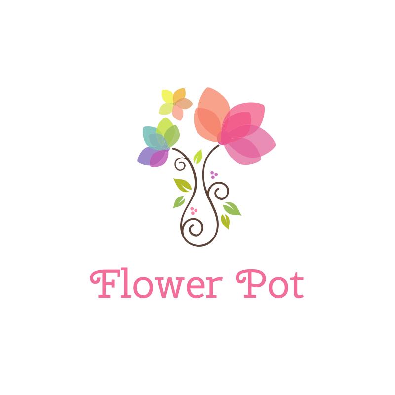 Watercolor Flower Pot Logo Design