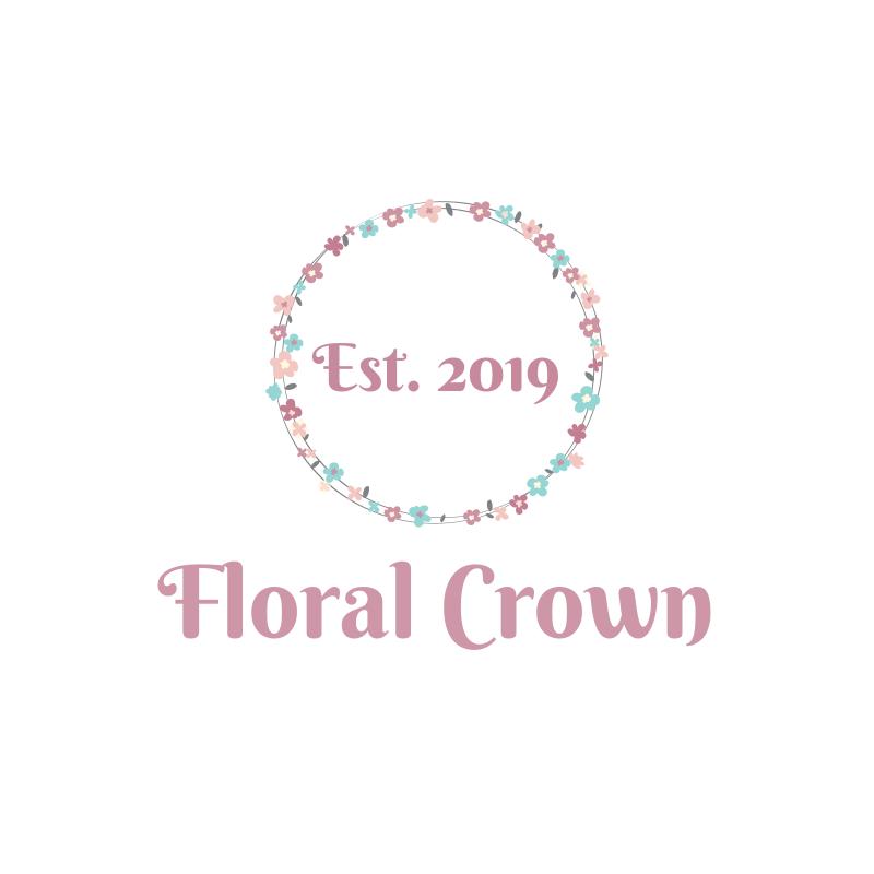 Watercolor Floral Crown Logo Design