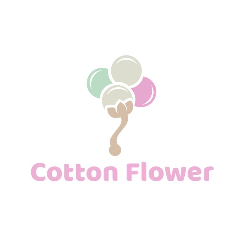 Watercolor Cotton Flower Logo Design