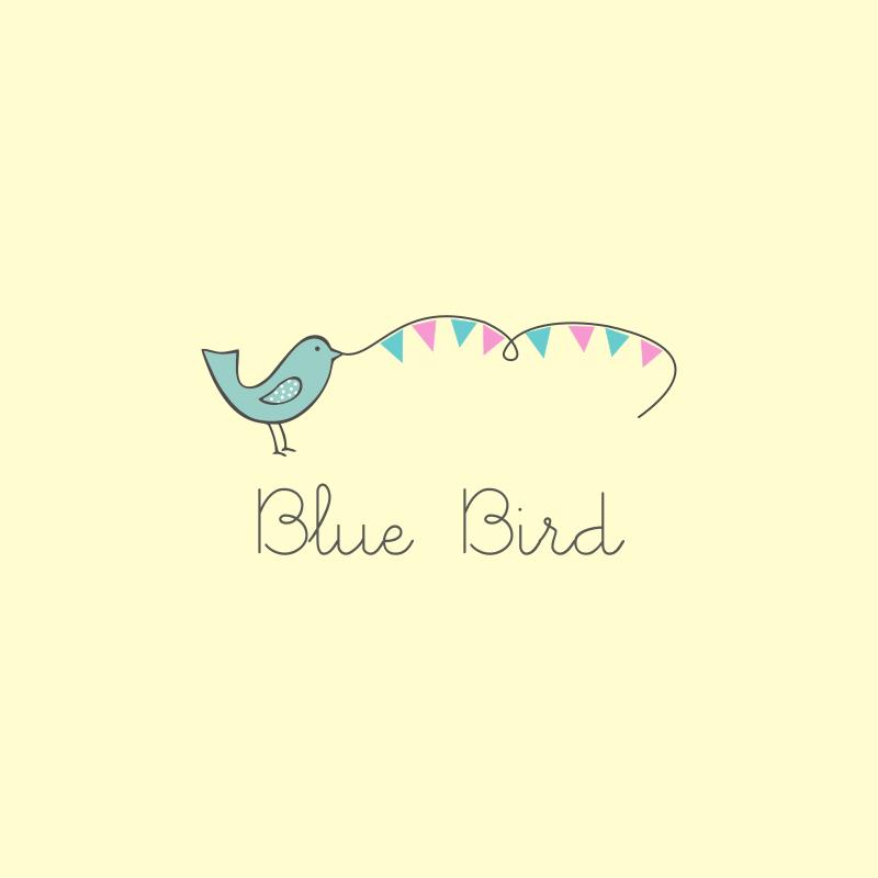 Watercolor Blue Bird Logo Design