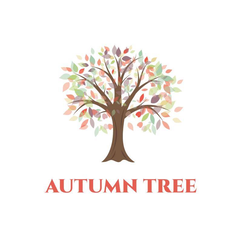 Watercolor Autumn Tree Logo Design