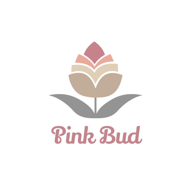 Watercolor Pink Bud Logo Design