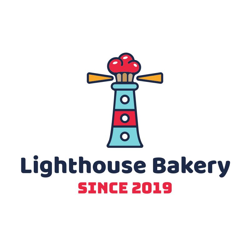 Muffin Lighthouse Bakery Logo Design