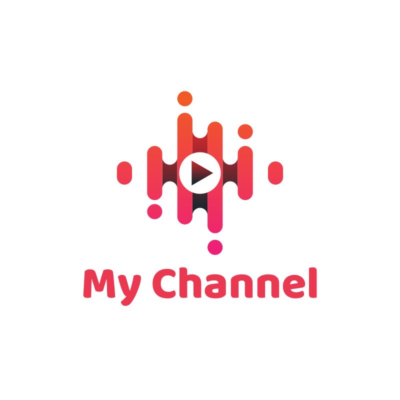 Pink Media Player YouTube Logo Design