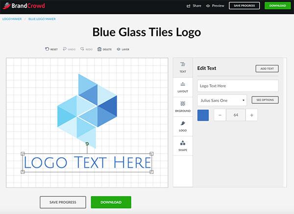 Blue Glass Tile Logo Design