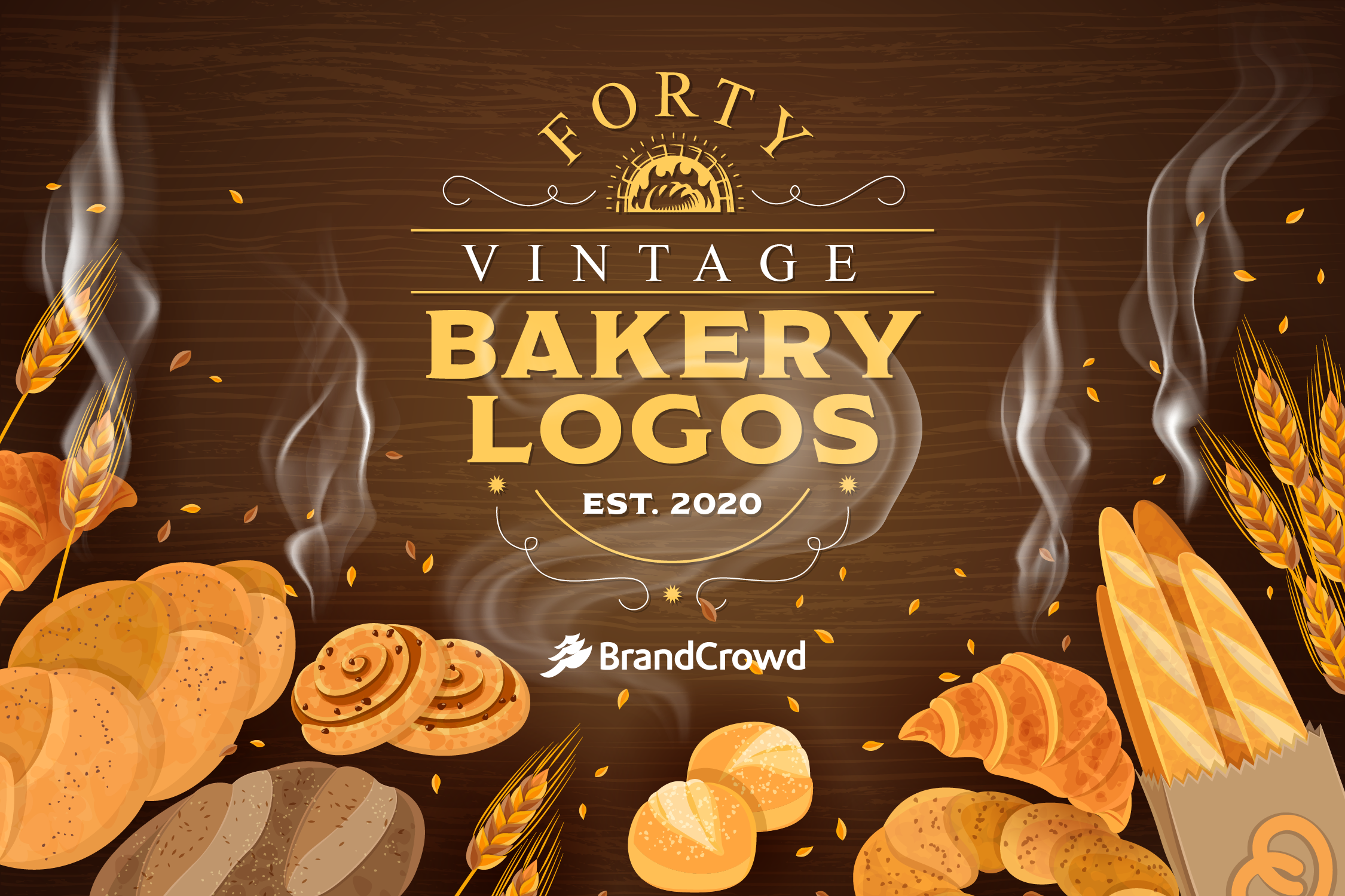 the-forty-vintage-bakery-logos-roundup-blog-header-features-a-vintage-typography-with-illustrations-of-various-baked-goods-against-a-brown-background